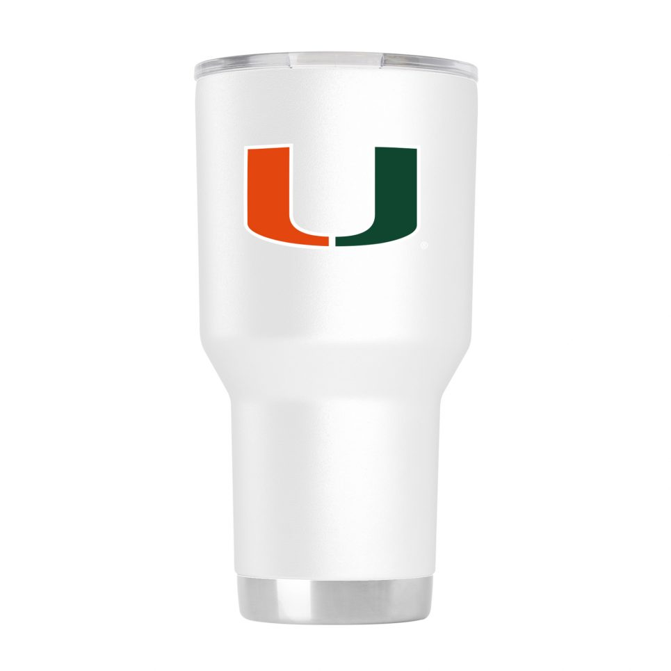 Miami Hurricanes 30 oz White Tumbler