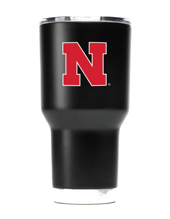 Nebraska 30oz Powder Coated Black Tumbler