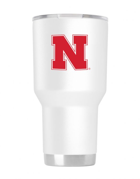 Nebraska 30 oz White Powder Coat Stainless Steel Tumbler