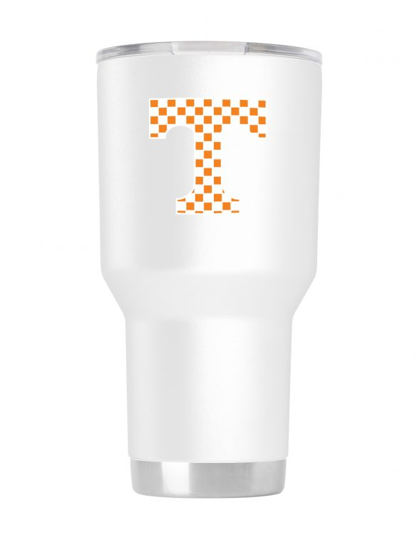 TN Checker 30 oz White Stainless Steel Tumbler