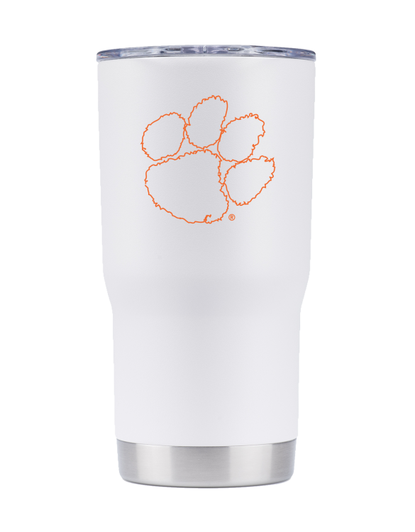 Find Your Team, Clemson 20oz White Tumbler - Gametime Sidekicks