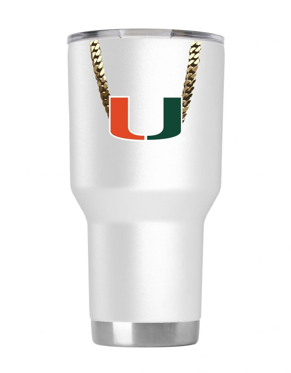 Miami Hurricanes 30 oz White Turnover Chain Tumbler