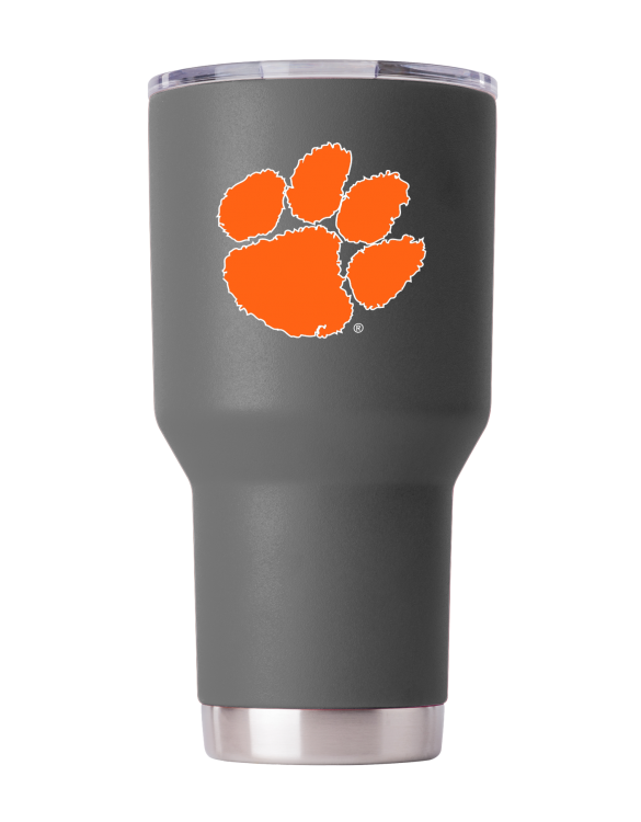 Clemson 30 oz Gray Powder Coat Stainless Steel Tumbler