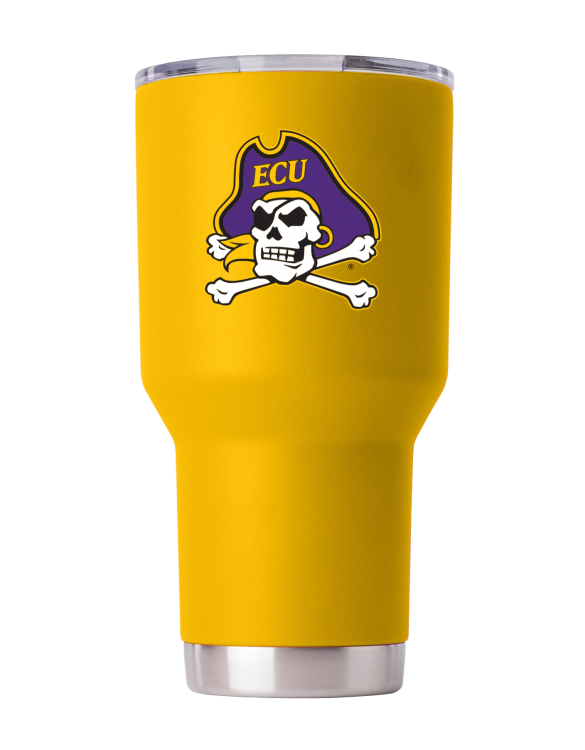 East Carolina 30 oz Yellow Powder Coat Stainless Steel Tumbler
