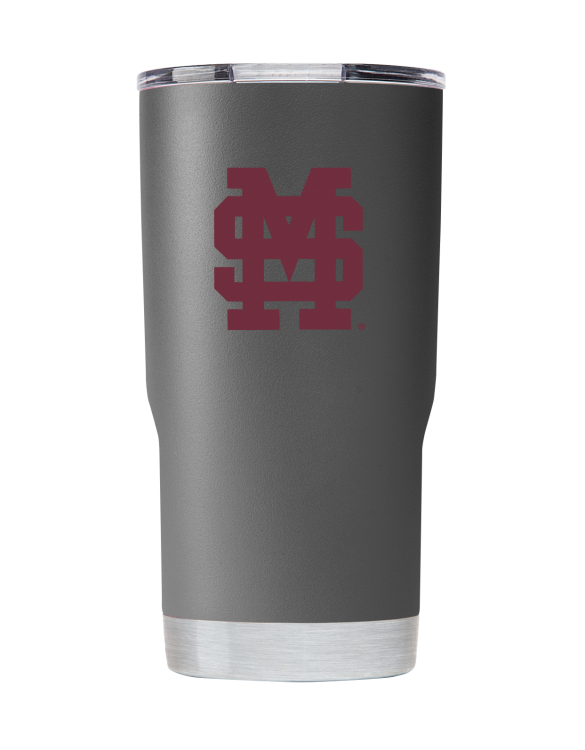 Mississippi State 20 oz gray stacked MS tumbler