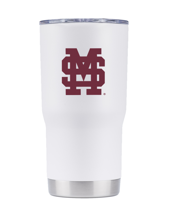 Mississippi State 20 oz white stacked MS tumbler