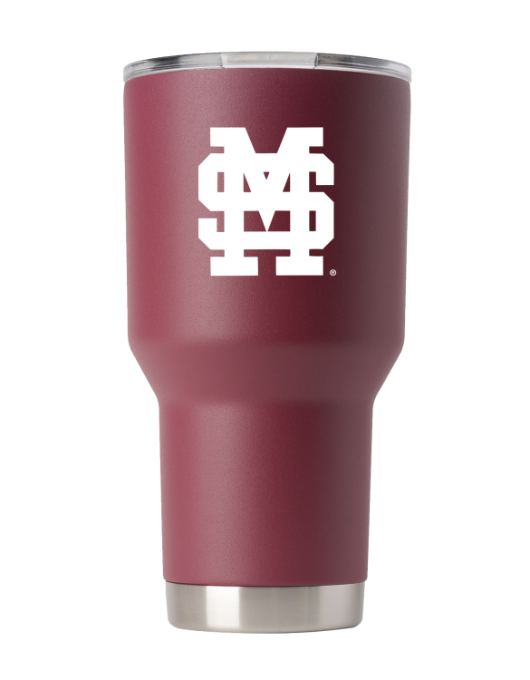 Mississippi State 30 oz maroon stacked MS tumbler