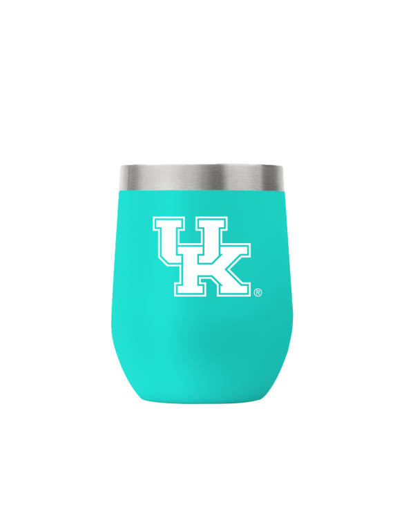 Kentucky 12 oz stemless teal tumbler