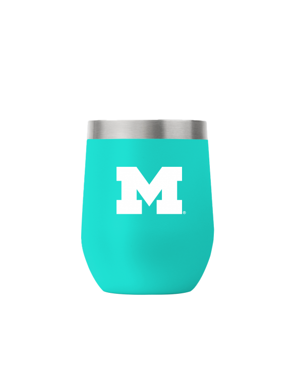 Michigan 12 oz stemless teal tumbler