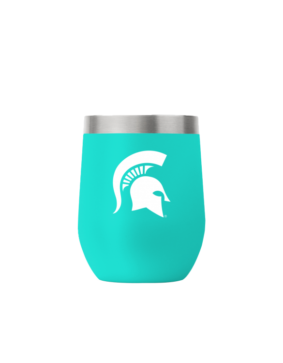 Michigan State 12 oz stemless teal tumbler