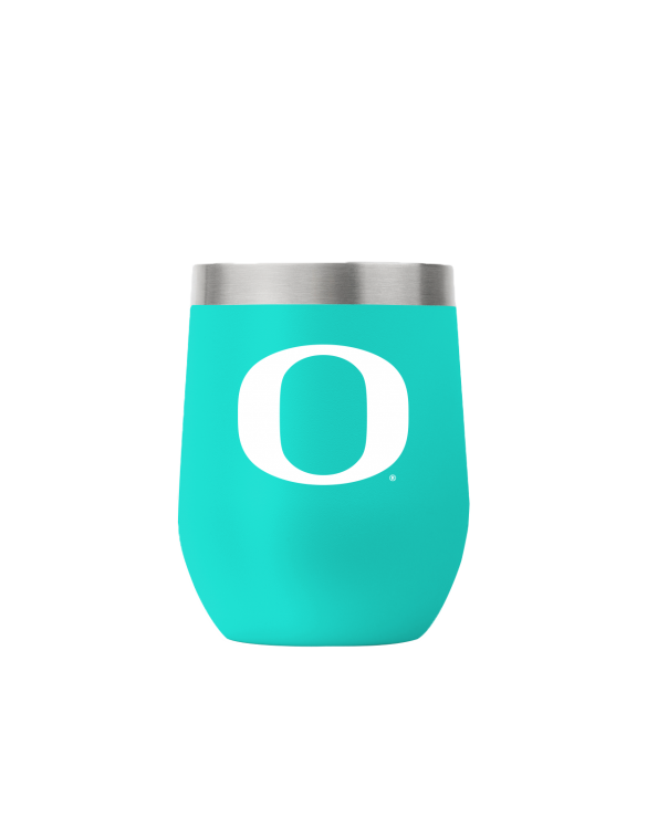 Oregon 12 oz stemless teal tumbler